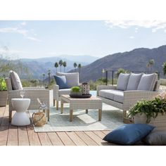 Outdoor Belham Living Clermont All Weather Wicker 4 Piece Patio Conversation Set - Wicker Patio Furniture, Pool Furniture, Wicker Sofa, Outdoor Furniture Sets, Furniture Layout, Furniture Ideas, Furniture Design, Outdoor Sofa, Outdoor Spaces