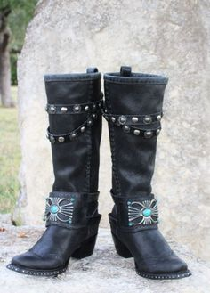 reputable site b6512 e5269 ... Distressed Leather, Leather And Lace, Cowgirl Chic, Cowgirl Boots,  Double D Ranch, Cool Boots, Turquoise Stone, Black Boots. Mindy Wood · Shoes
