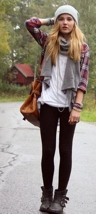 Plaid with black leggings and booties