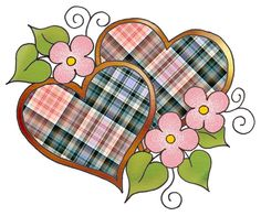 """ArtbyJean - Love Hearts: Bright colors in plaid or tartan patterns - Two Hearts in the """"Hearts with Blossoms"""" design."""