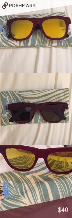 TOMS sunglasses. Perfect condition. Comes w case! TOMS maroon sunglasses with yellow lenses. Perfect condition. Comes w case! Toms Accessories Sunglasses