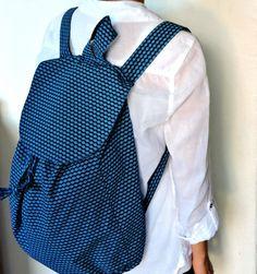 Blue African Shweshwe drawstring backpack by akwaabaAfrica on Etsy
