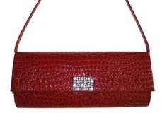 91f280a4dc46c LS075 red Pu pvc Evening Handbag Clutch Bag Purse with Rhinestone in the  Front  Handbags