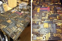 This is the coolest table ever.  I have to start collecting letterpress blocks and make one of my own.  OMG.