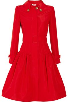 Oscar De La Renta Full Skirted Silk Faille Coat in Red (rose) | Lyst