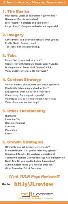 6-steps-to-facebook-marketing-awesomeness - A good guide to reviewing your Facebook page.