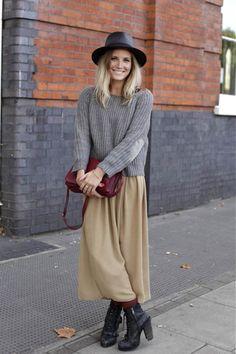 Knit sweater + long skirt #winter #fashion