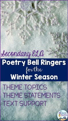 Poetry Bell Ringers for the Winter Season Teaching American Literature, Ap Literature, British Literature, Poetry Prompts, Poetry Lessons, Math Lessons, Middle School Literature, Middle School English, English Short Stories