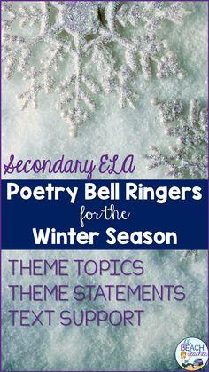 Poetry Bell Ringers for the Winter Season Teaching American Literature, Ap Literature, British Literature, Poetry Prompts, Poetry Lessons, Math Lessons, English Short Stories, Ap English, Ap Language