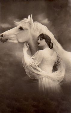 Vintage lady with horse post card