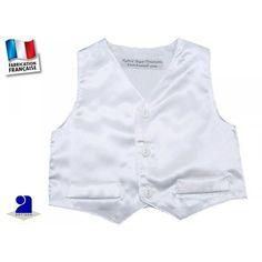53a58820e42e9 Gilet de costume baptême bébé en satin blanc du 3 mois au 6 ans Gilet blanc