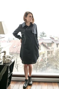 COTTON SHIRT, Loose long cotton shirt, S,M,L,Black Minimalist Cotton Shirt,Top Quality Italian Fabric Shirt,Conceptstyle, 02C15-00108 by ConceptStyle on Etsy