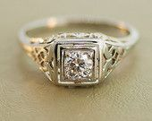 Antique 14k White Gold and Diamond Engagement Ring