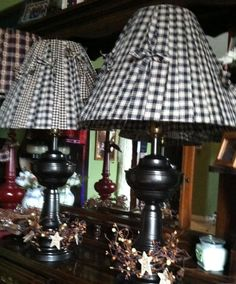 I love re-purposing old lamps! So far, these are my favorite. Primitive Lamps, Primitive Lighting, Primitive Living Room, Primitive Quilts, Primitive Crafts, Country Lamps, Country Farmhouse Decor, Rustic Decor, Old Lamps