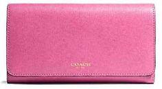 NWT COACH Saffiano Pink Crosshatch Leather Checkbook Tri Fold Wallet 50155 $238