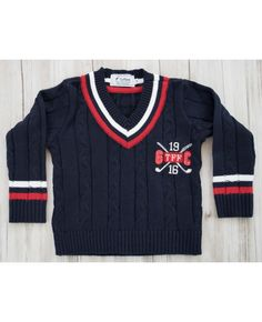 Suéter tricot decote V bordado marinho Toffee