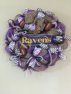 Deco Mesh Baltimore Raven's Football by tinasdecomeshwreaths