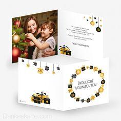 Weihnachtskarte Symbole 14.5 x 14.5 cm - Dankeskarte.com Thanks Card, Xmas Cards, Christmas, Gifts, Pictures