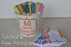 Tutorial and Printables to help create the perfect summer full of fun and activities! 60 days of Summer fun includes printable cards with ideas, as well as a blank set, so you can customize your summer!
