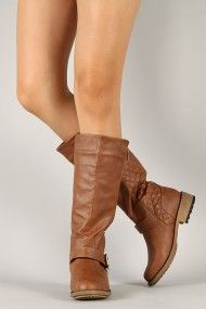 Qupid Relax-114X Buckle Quilted Riding Knee High Boot
