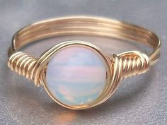 Opaline 14k Gold Filled Custom Sized Wire Wrapped by AnjasArts, $15.00