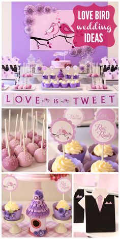 A Love Bird themed wedding with cupcakes, cake pops, and a lavender cake with a banner topper!  See more party planning ideas at CatchMyParty.com!