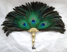 $75 +$14 SHIPPING Renaissance Medieval Victorian Elizabethan Tudor Peacock Feather Fan 4 Faire SCA