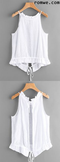Tie Open Back Frill Detail Top