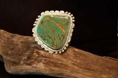Massive Native American Indian Art Bracelet Turquoise Sterling Cuff  VINTAGE