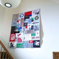 There is no rule saying quilts must be used on a bed! Check out this super cool wall hanging quilt! Hanging Quilts, Quilted Wall Hangings, Shirt Quilt, Cool Walls, Cool T Shirts, Photo Wall, Quilting, Cool Stuff, Sewing