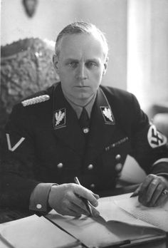 Ulrich Friedrich Wilhelm Joachim von Ribbentrop (1893-1946) was Foreign Minister of the German Reich from 1938 until 1945. Arrested in June 1945, he was tried at the Nuremberg Trials and convicted of war crimes for his role in starting World War II and enabling the Holocaust. On 16 October 1946 he became, due to Hermann Göring's suicide moments before, the first of those sentenced to death to be hanged.