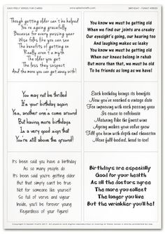 Easy Peely Verses for Cards - Birthday Sheet 5 (Funny)