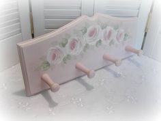 Hand Painted Roses Peg Rack