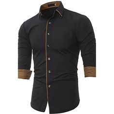 5ec5ac67169 Men s Work Punk   Gothic Plus Size Cotton Shirt - Solid Colored   Long  Sleeve   Fall   Winter