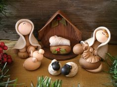 Heres a sweet 8 piece nativity set that includes Mary, Joseph, baby Jesus, Nativity Crafts, Christmas Nativity, Christmas Crafts, Christmas Decorations, Christmas Ornaments, Nativity Sets, Sculpey Clay, Polymer Clay Projects, Polymer Clay Creations