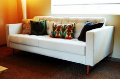 DIY - Spending $40 to have an IKEA Karlstad sofa Tufted by a local upholsterer.