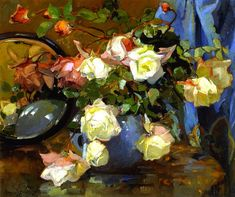 Roses in a Blue Bowl | Franz Bischoff | oil painting  - Prices starting at $169