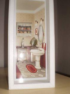 Quadro Arte Francesa Banheiro I - moldura com vidro R$ 45,00