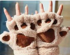 2015 Hot Sale Winter Women Gloves Fluffy Bear Paw Claw Fingerless Cute Toweling Gloves Mittens Christmas Birthday Gift ST001