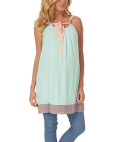 Mint Green & Pink Front-Tie Maternity Silk-Blend Tunic