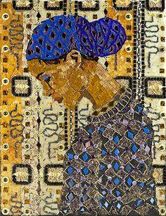 """Girl in a Blue Head Wrap"" by Ilona Brustad, 2011 (Stained Glass, Beads, Ball Chain, Mirror Glass & Glass Frit) African American Art, African Art, Mosaic Art Projects, Mosaic Glass, Stained Glass, Photography Illustration, Fantastic Art, Beauty Art, Art Plastique"