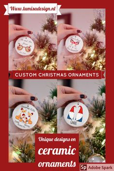 Personalized Blue Tree And Snow Family Ornament Christmas Ornaments Yule Ornaments
