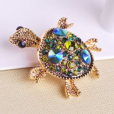 Blue Gold Tortoise Brooch Pin