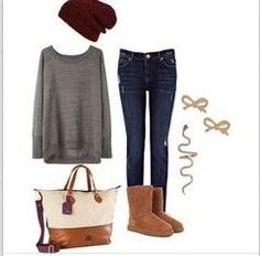comfy uggs outfits with chestnut boots