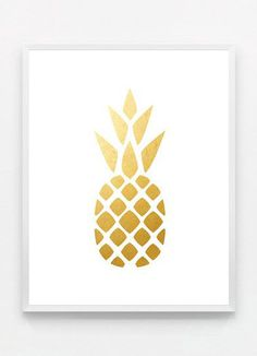 Gold Pineapple Print Gold Pineapple Wall Art Gold