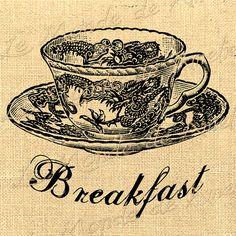 Breakfast   tea cup romantic large image vintage by JLeeloo2, $1.00
