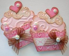 Cupcake Embellishments-Pink & Brown Vintage-Set of 2 via Etsy