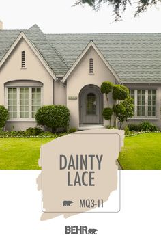 Freshen up the exterior of your home for summer. A new coat of Behr Paint in Dainty Lace is the perfect place to start. This classic neutral hue adds a traditional style to this house. See how you can use this beige hue on your own home. Click below for full color details to learn more.