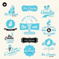 Retro ice cream shop logo vector by zzenko on VectorStock® Logo Ice Cream, Ice Cream Brands, Best Ice Cream, Ice Logo, Logo Branding, Logos, Branding Design, Logo Design, Design Set