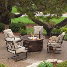 Have to have it. AZ Heater 48 in. Round Propane Fire Pit Veranda Chat Set - Seats 4 $1899.96